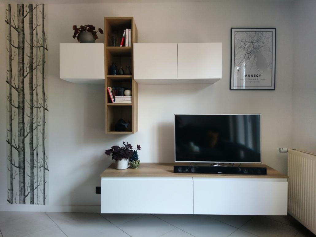 Réalisation : composition de meubles dans un salon